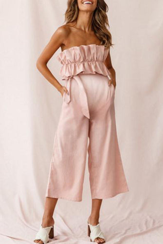 Maternity Ruffle Crop Jumpsuit