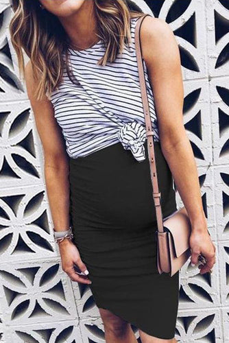 Stripe Irregular Two Piece Dress Maternity
