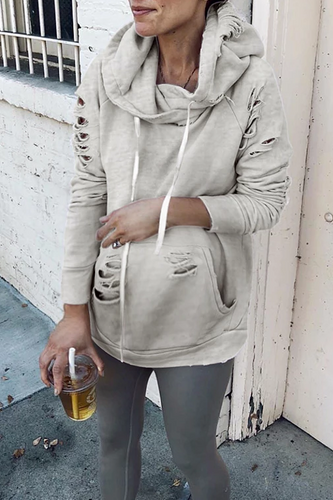 Maternity Hole-Breaking Old Long-Sleeved Hoodies