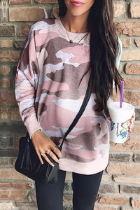 Maternity Casual Round Collar Camouflage Printed Sweatshirts