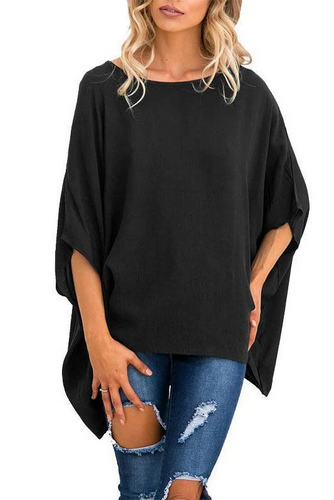 Maternity Plain Loose Round Neck Solid Color T-Shirts