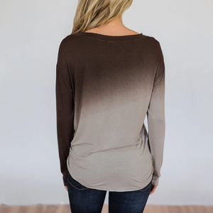 Fashion Gradient Round Neck Long Sleeve T-shirts