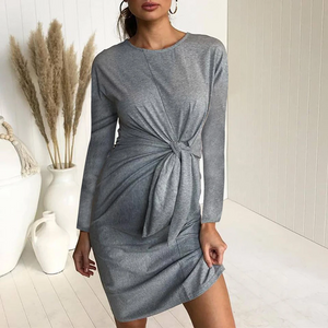Maternity Pure Color Long Sleeved Bodycon Dress