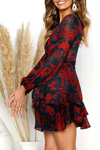 Maternity Casual V-Neck Long Sleeve Printed Layered Ruffle Dress