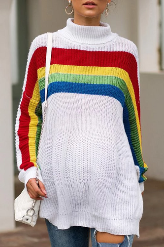 Maternity Rainbow Color Stripe Long-Sleeved Turtleneck Sweater