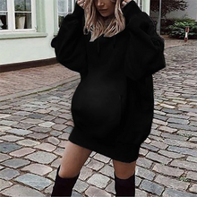 Load image into Gallery viewer, Maternity Pure Color Long Sleeve Hoodie Dress