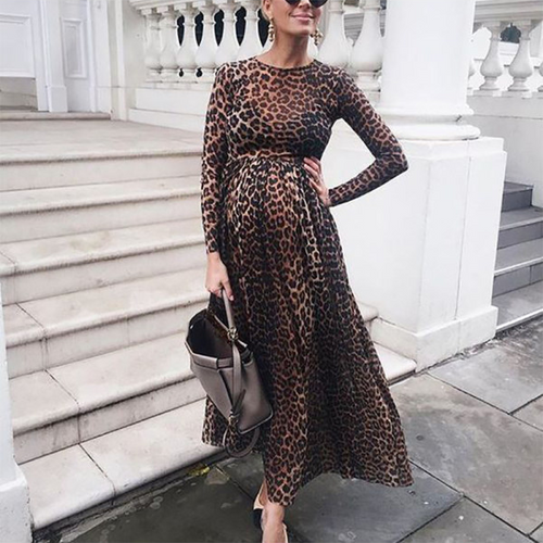 Maternity Leopard Printed Colour Long Sleeve Maxi Dress