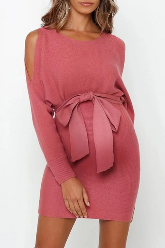 Maternity Round Neck Off-The-Shoulder Strap Bodycon Dress