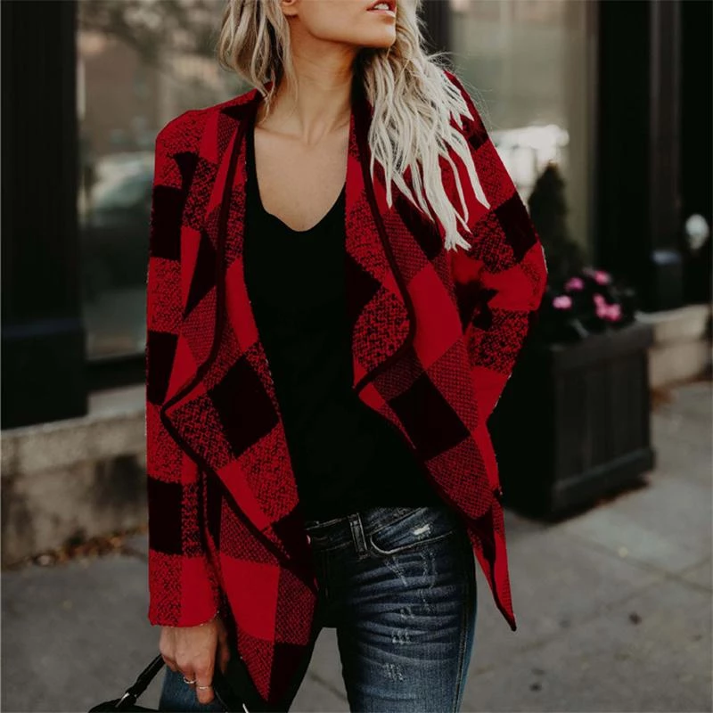 Maternity Plaid Lapel Woolen Coat
