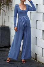 Load image into Gallery viewer, Maternity Sexy Wide Leg Long Sleeve Striped Jumpsuits