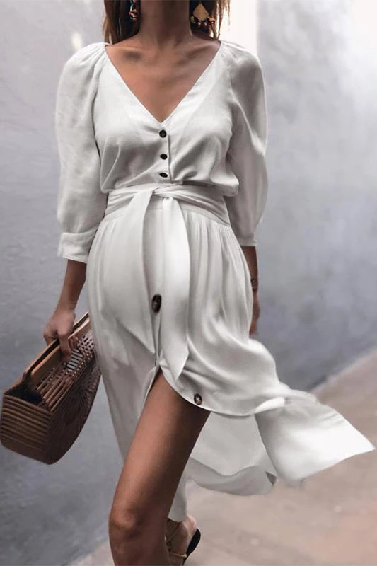 Maternity Lace-Up Sleeve Dress