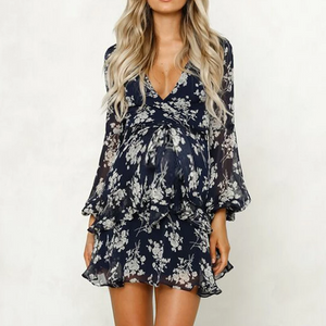 Maternity Sexy V Neck Long Sleeve Printed Colour Ruffled Dress