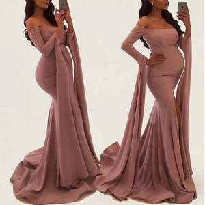 Maternity Solid Color Off Shoulder Long Sleeve Gown Maxi Dress