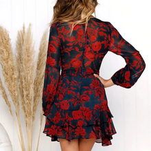 Load image into Gallery viewer, Maternity Casual V-Neck Long Sleeve Printed Layered Ruffle Dress
