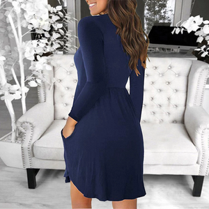 Maternity Casual Pure Color Patchwork Round Neck Dress
