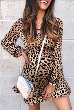 Load image into Gallery viewer, Maternity Casual Leopard Ruffled Casual Dress