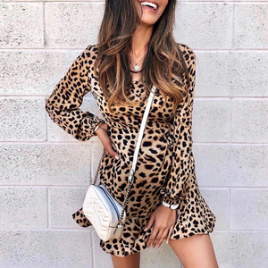 Maternity Casual Leopard Ruffled Casual Dress
