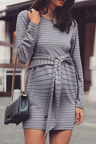 Maternity Casual Round Neck Striped Long Sleeve Dress
