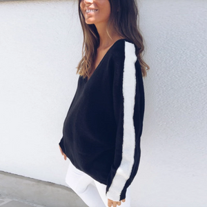 Maternity Fashion V Neck Long Sleeve Sweater