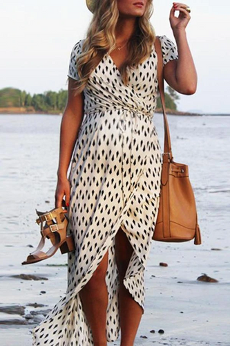 Maternity V-Neck Geometric Pattern Maxi Dress