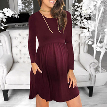 Load image into Gallery viewer, Maternity Casual Pure Color Patchwork Round Neck Dress