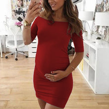 Load image into Gallery viewer, Maternity Plain Off Shoulder Half Sleeve Work Bodycon Dress