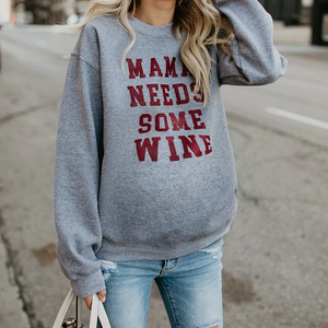 Maternity Daily Letters Pure Color Long Sleeve Sweatshirts
