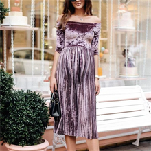 Load image into Gallery viewer, Maternity One-Shouldered Long-Sleeved Pleated Dress