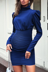 Maternity High Neck Pure Color Long Sleeve Dress