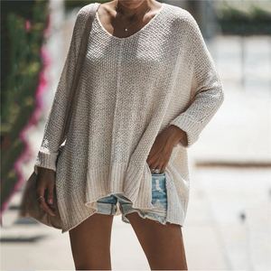 Maternity Round Neck Solid Color Long Sleeve Sweater
