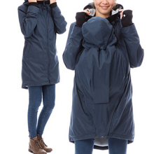 Load image into Gallery viewer, Kangaroo Stitching Fur Collar Hooded Maternity Jackets