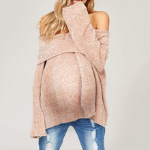 Load image into Gallery viewer, Maternity Fashion Solid Color Long Sleeve Off-Shoulder Sweater