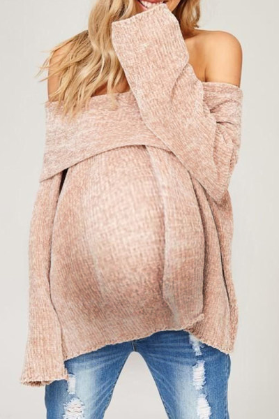 Maternity Fashion Solid Color Long Sleeve Off-Shoulder Sweater