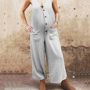 Maternity casual Deep V Button Wide Leg Jumpsuits