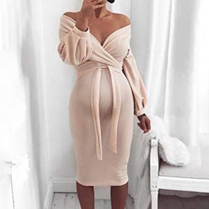 Maternity Deep V Off-The-Shoulder Knit Bag Hip Long Sleeve Bodycon Dress