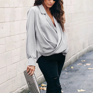Maternity Fashion Turndown Collar Pure Color Blouse