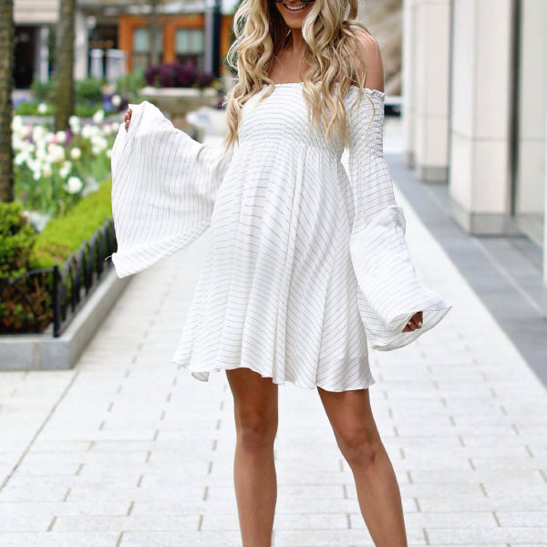 Maternity Off Shoulder Ruffle Sleeve Striped Dress