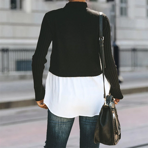 Maternity Pure Color Round Neck Short Long Sleeve Sweater