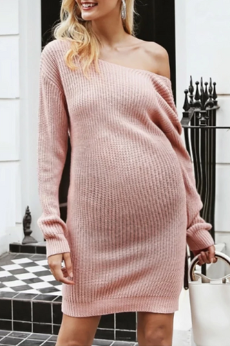 Maternity Casual Round Neck Backless Pure Color Dress