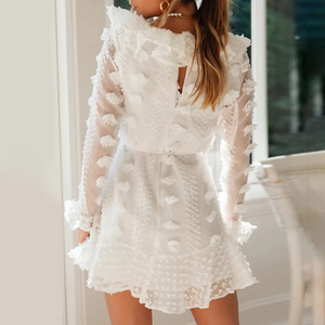 Maternity Jacquard Ruffle Long Sleeve Casual Dress