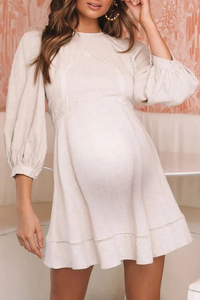 Maternity Round Neck Puff Sleeves Solid Color Dress