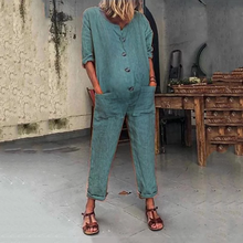 Load image into Gallery viewer, Maternity Pocket Long Sleeve Color Jumpsuits