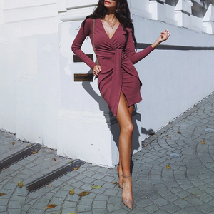 Maternity Deep-V Neck Long Sleeve Tight Pure Color Dress