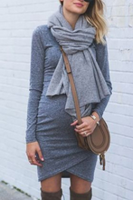 Load image into Gallery viewer, Maternity Basic Gray Long Sleeve Bodycon Dress