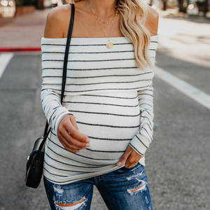 Maternity One-Shoulder Strapless Striped Long-Sleeved T-Shirts