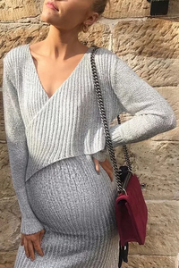 Maternity Sexy Chest Cross V-neck Long Sleeve Dress