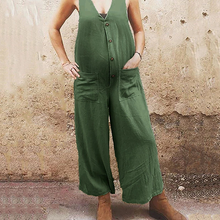 Load image into Gallery viewer, Maternity casual Deep V Button Wide Leg Jumpsuits