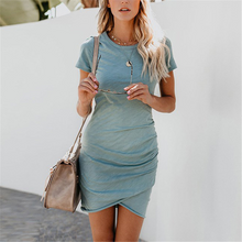 Load image into Gallery viewer, Maternity Round Neck Short Sleeve Pleated Bodycon Dress