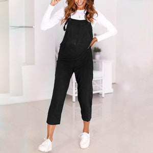 Maternity Solid Color Vest Jumpsuits