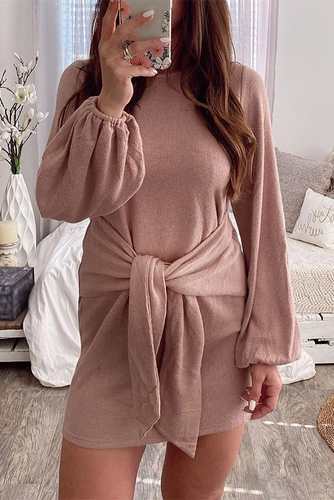 Maternity Solid Color Long Sleeve Casual Dress